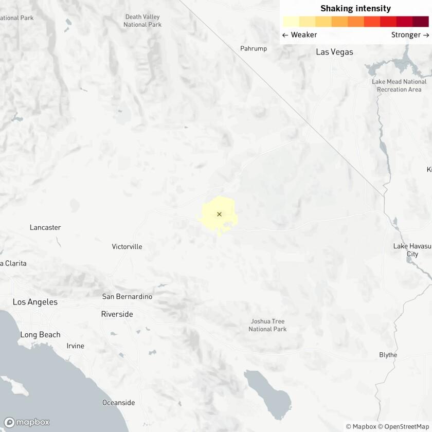 A 3.5-magnitude earthquake struck Tuesday near Barstow.