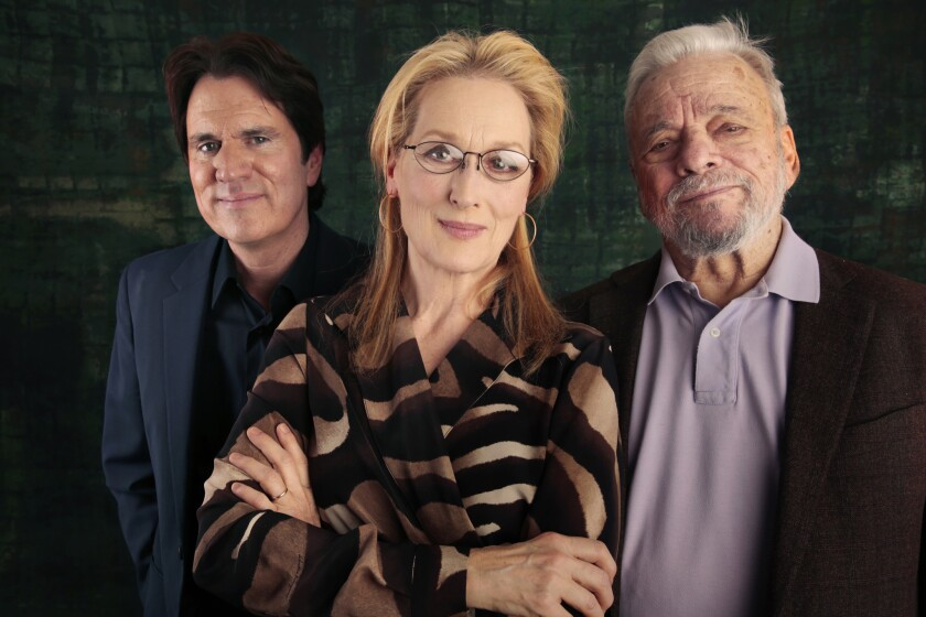 "Director Rob Marshall, left, actress Meryl Streep and composer Stephen Sondheim of the movie ""Into The Woods."""
