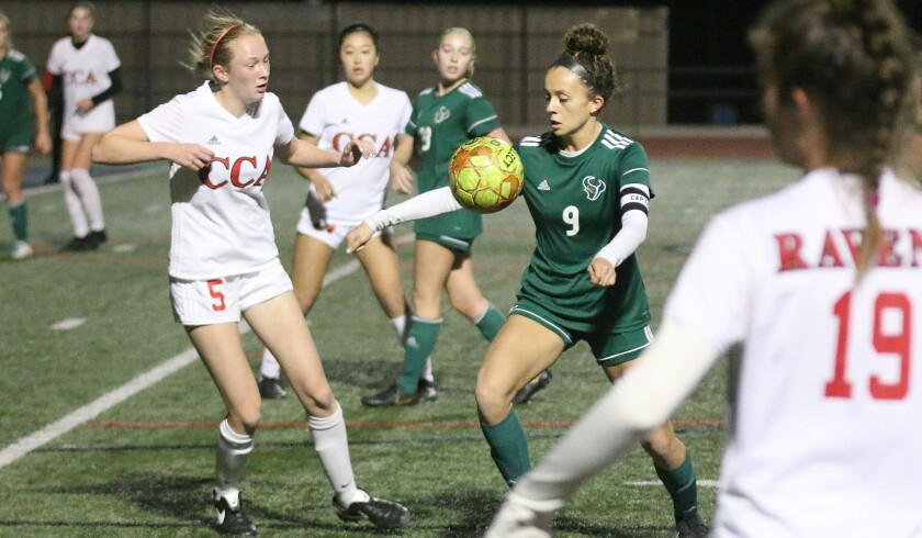 Senior Lizzy Teran (#9) had a pair of goals for LCC Thursday night.