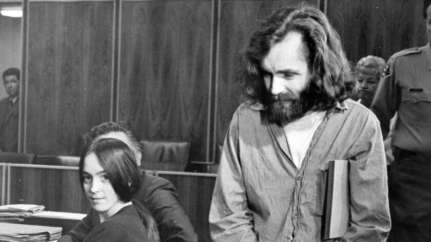 Charles Manson, right, and Manson family member Susan Atkins in court in Santa Monica, 1970.