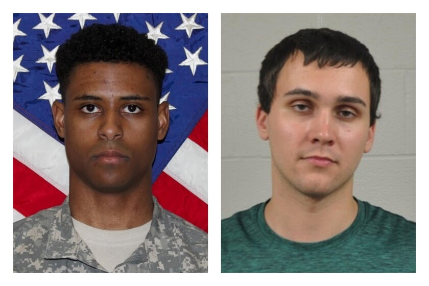 FILE - This combination of photos provided by the U.S. Army and the University of Maryland Police Department shows Richard Collins III, left, and Sean Urbanski. Urbanski, a white man serving a life sentence for stabbing Richard Collins III, a Black college student to death at a bus stop at the University of Maryland has asked the state's second highest court to throw out his murder conviction. (U.S. Army, University of Maryland Police Department via AP, File)
