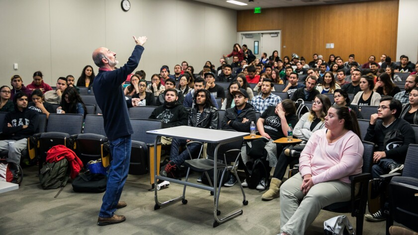 A professor lectures at his World of Islam class at Cal State San Bernardino on Dec. 7, 2015.