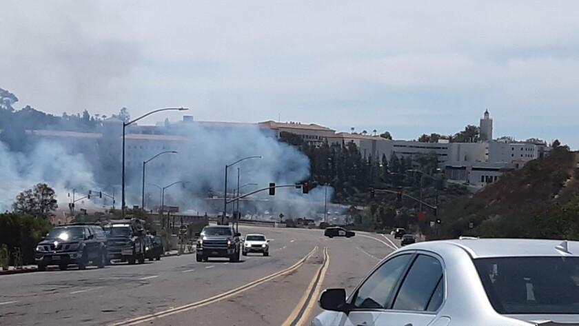 Fire ignites near San Diego State University