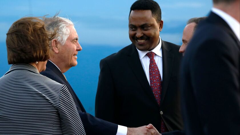 U.S. Secretary of State Rex Tillerson, left, is greeted by Ethiopia Minister of Foreign Affairs, Wor