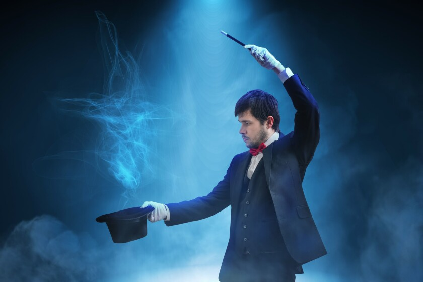 An illusionist can cause us to think we are seeing something that is actually fraudulent.