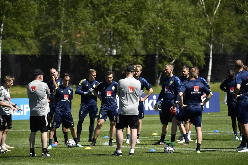 The Swedish national soccer team attend a training session at the European Championship camp in Gothenburg, Sweden, Wednesday, June 9, 2021. Euro 2020 gets underway on Friday June 11 and is being played in 11 host cities across 11 countries. The event was delayed by one year after being postponed in 2020 due to the COVID-19 pandemic. (Erik Simander/TT News Agency via AP)