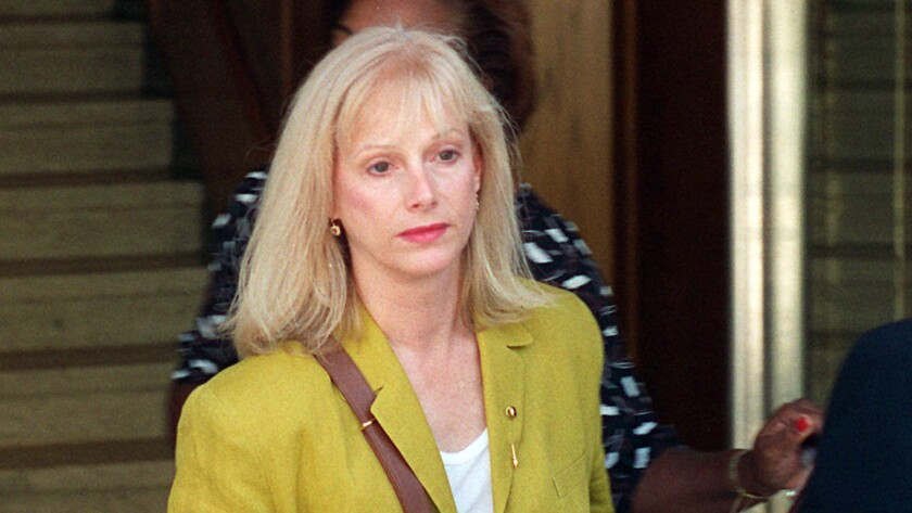 Sondra Locke leaves court in Burbank after opening statements in a 1996 civil suit against Clint Eastwood.