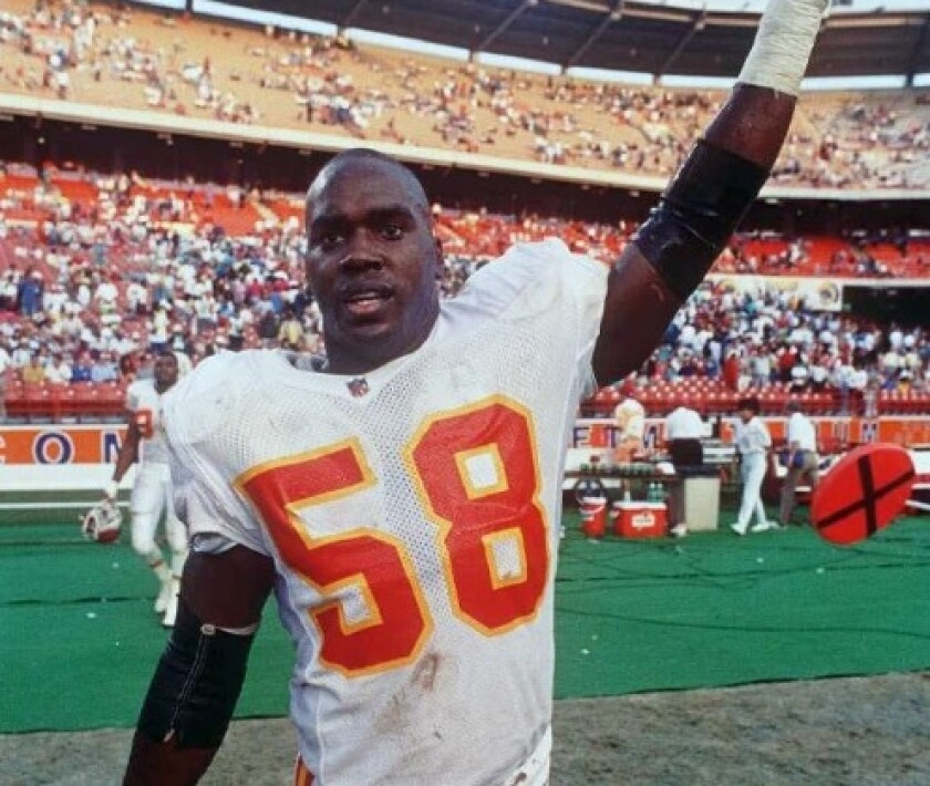 Kansas City Chiefs linebacker Derrick Thomas during his playing days in the NFL.