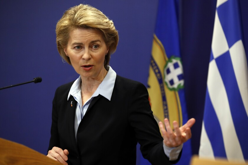 German Minister of Defense Ursula von der Leyen speaks in Athens.
