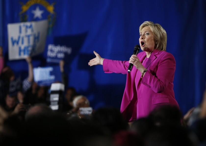 Hillary Clinton speaks at a rally Thursday in Las Vegas.