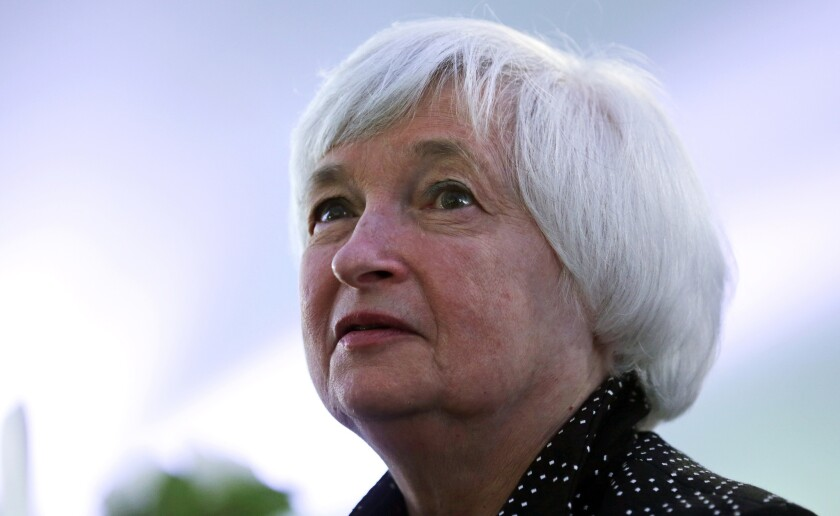 """Federal Reserve Chairwoman Janet L. Yellen said Monday that """"recent signs of a slowdown in job creation bear close watching."""""""