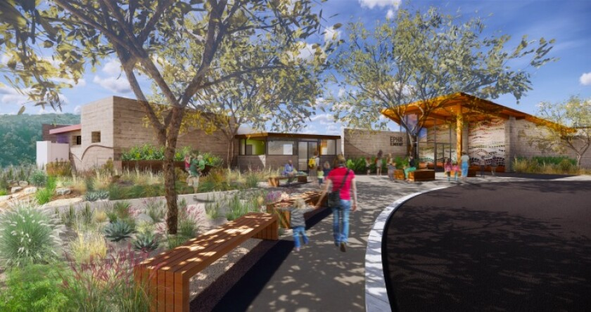 A rendering of the new Pacific Highlands Ranch School. The district hopes to begin construction in April.