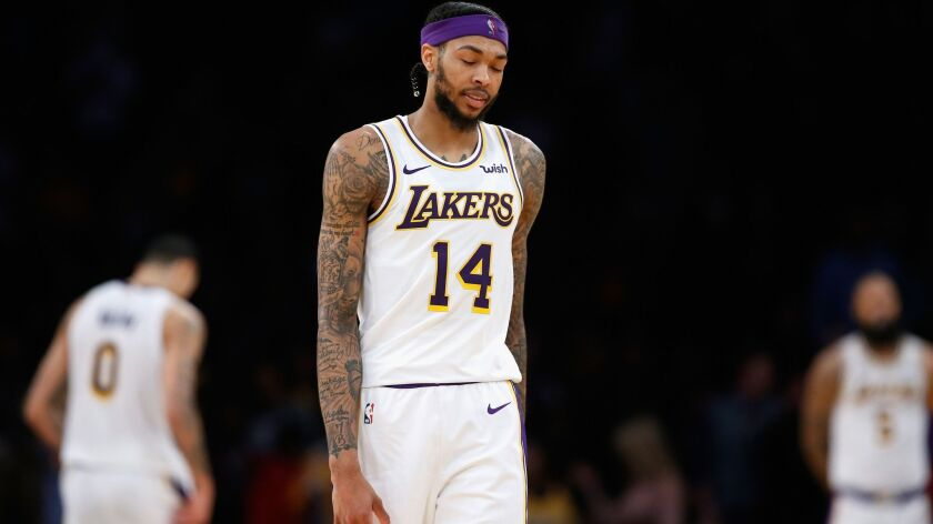 Brandon Ingram dropped 21 points in the Lakers' 138-134 overtime loss to the Houston Rockets on Saturday.