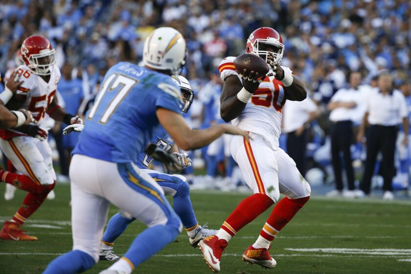 FILE - In this  Sunday, Nov. 22, 2015 file photo, Kansas City Chiefs outside linebacker Justin Houston (50) intercepts a pass thrown by San Diego Chargers quarterback Philip Rivers (17) during the second half of an NFL football game in San Diego. Houston scored a touchdown on the play. (AP Photo/Le