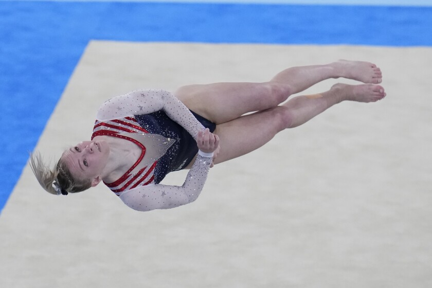 Jade Carey, of the United States, performs during the artistic gymnastics women's apparatus final Monday