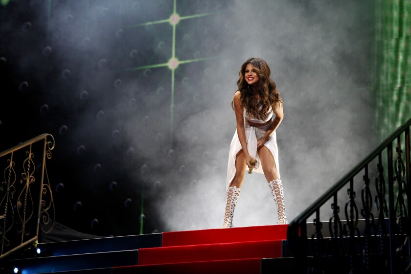 Selena Gomez performs at Staples Center in Los Angeles on Nov. 6.
