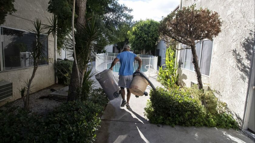 Tenants face big rent increases after their property lost its rent control status in Reseda, Calif. on Oct. 4, 2018.