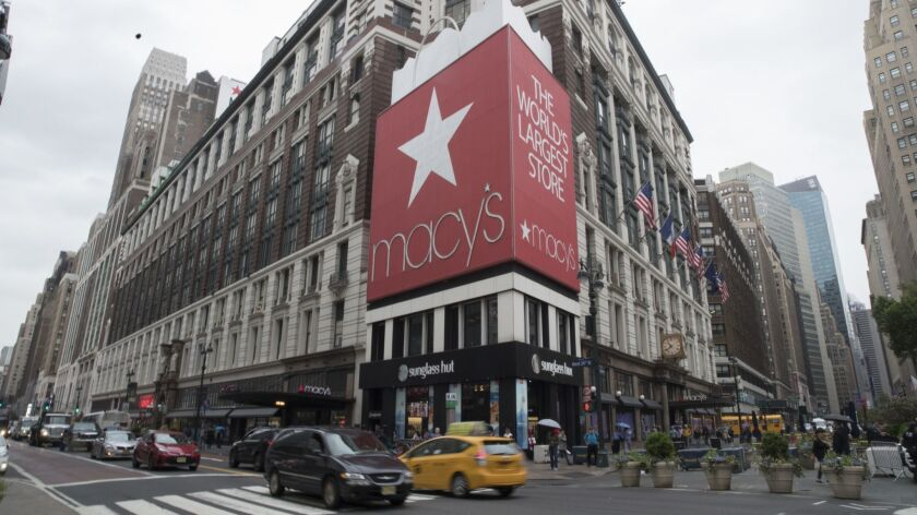Macy's stock plummeted 17.7% on Thursday, its biggest single-day drop on record. Above, the chain's flagship store in New York.