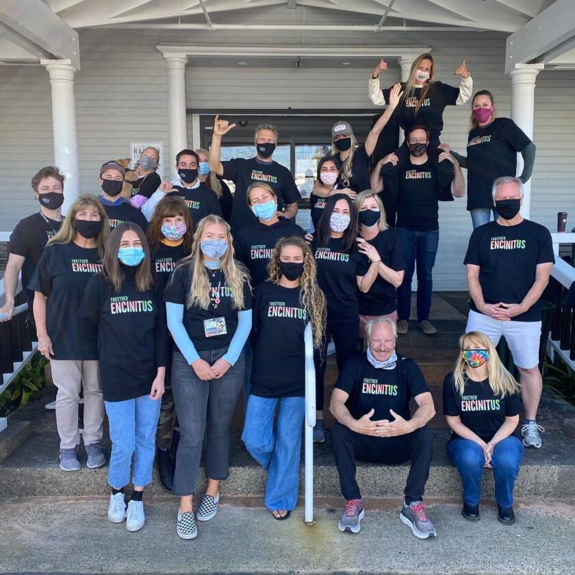 The staff at Hanson Surfboards in their EncinitUs shirts.