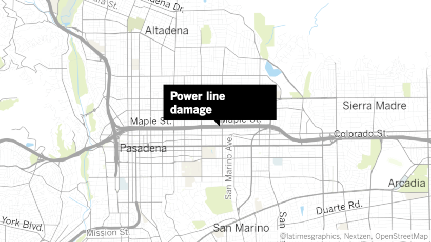 Metro's power lines were damaged at the Allen Avenue station in Pasadena.