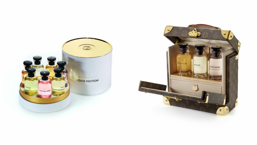 A boxed set of all seven Les Parfums Louis Vuitton fragrances in miniature 10 ml bottles, $290 at louisvuitton.com; Louis Vuitton leather monogram fragrance case (holds three fragrance bottles, sold separately), $5,450 at Louis Vuitton in Beverly Hills, (310) 859-0457.