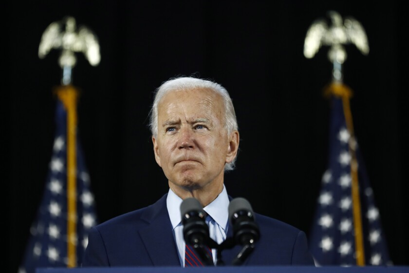 FILE - In this June 25, 2020, file photo Democratic presidential candidate, former Vice President Joe Biden pauses while speaking during an event in Lancaster, Pa. Biden and his leading supporters are stepping up warnings to Democrats to avoid becoming complacent. (AP Photo/Matt Slocum, File)
