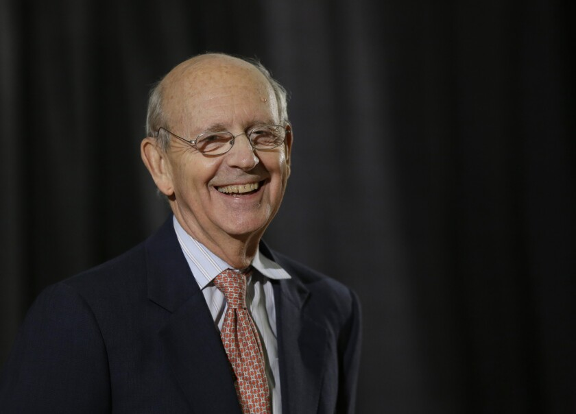 Justice Stephen G. Breyer, shown at a January appearance in Boston, is in a Washington hospital after surgery following a bicycle accident.