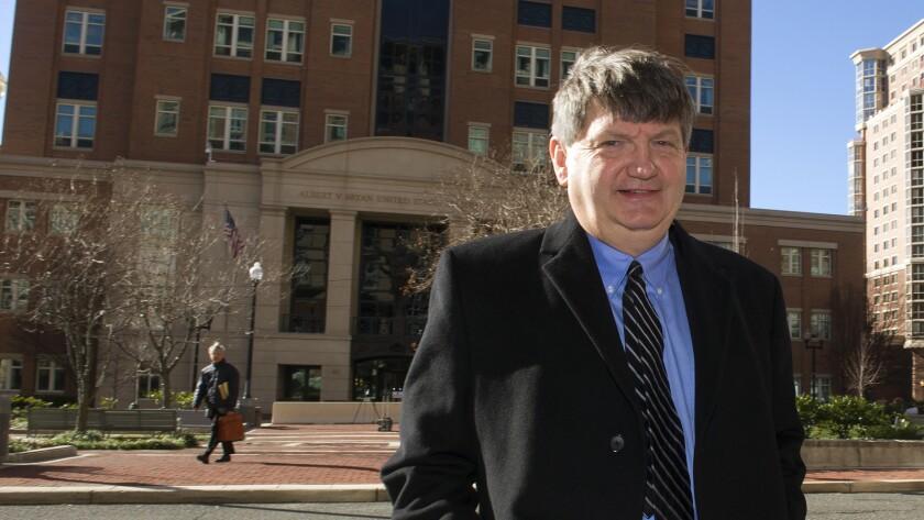 New York Times reporter James Risen outside federal court in Alexandria, Va., on Jan. 5.