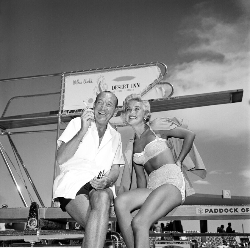 Jane Powell with playwright Noel Coward in Las Vegas in 1955.