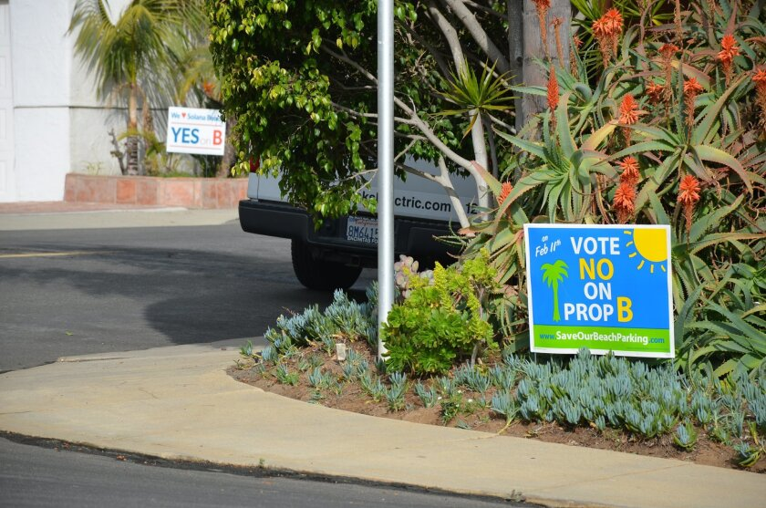 Campaign signs for and against Proposition B, a measure that would loosen restrictions on private parties at the Fletcher Cove Community Center in Solana Beach.