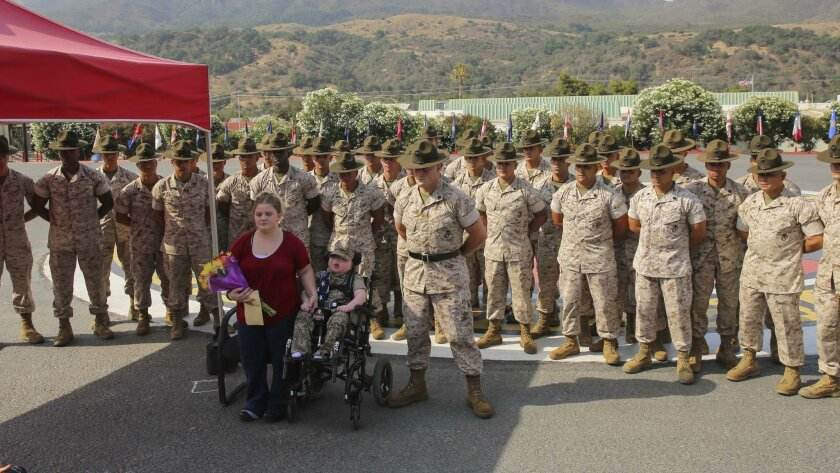 Wyatt Seth Gillette was presented the title of Honorary Marine in a ceremony at Camp Pendleton on Saturday.
