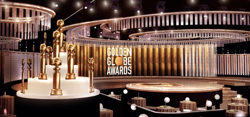 Closeup of Golden Globe statues.