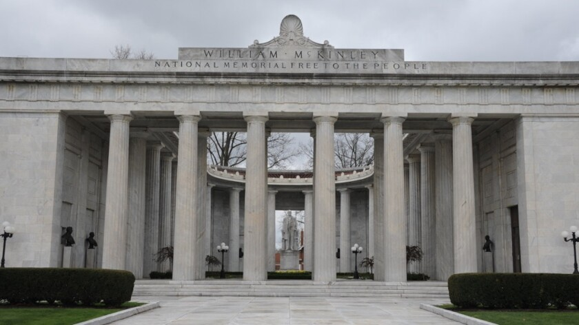 The Ohio memorial in honor of President William McKinley — who was assassinated in 1901.