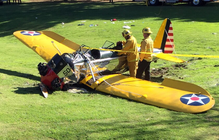 A small plane piloted by Harrison Ford crashed at Penmar Golf Course in Venice near the Santa Monica Airport.