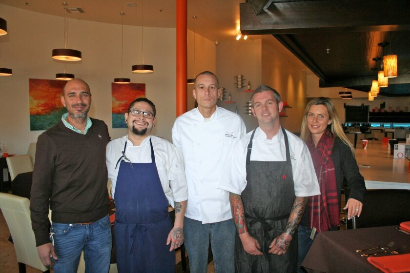 Treo3 in Del Rayo Village is owned by Budy and Cynthia Kubursi (far left and right) and features chefs Steve Ramirez, Nicholas Garcia and Justin Snyder.