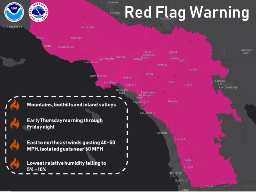 Red-flag warnings map