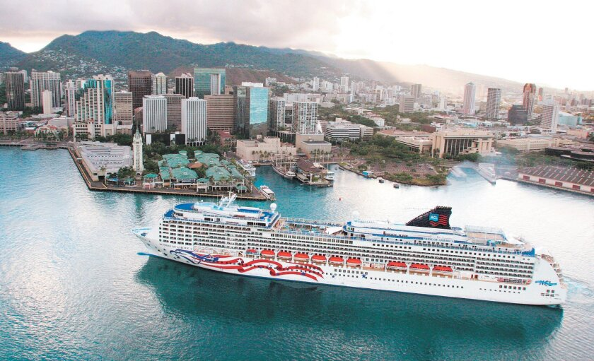 An aerial view of the Norwegian ship Pride of America in Honolulu.