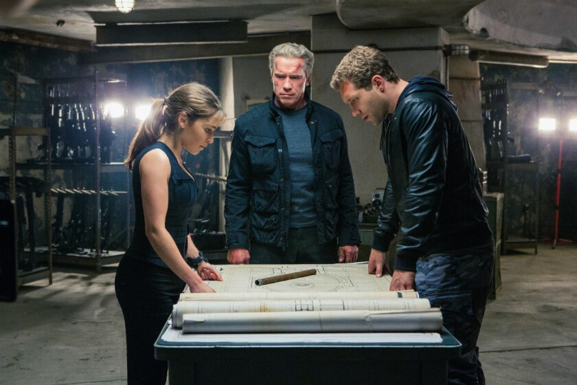 "The global box office saved ""Terminator: Genisys,"" the reboot of the series starring Arnold Schwarzenegger, center, Emilia Clarke, left, and Jai Courtney."