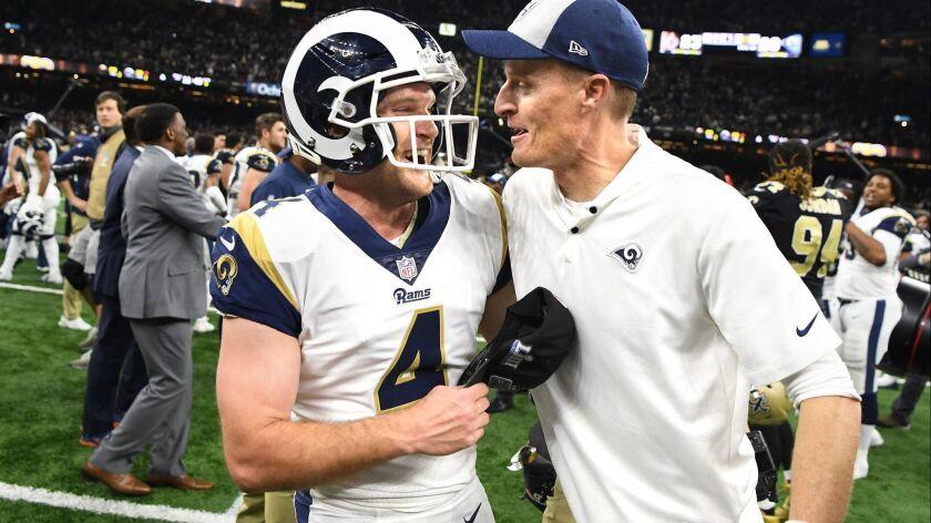 NEW ORLEANS. LOUISIANA JANUARY 20, 2018-Rams kicker Greg Zuerlein celebrates his game-winning filed