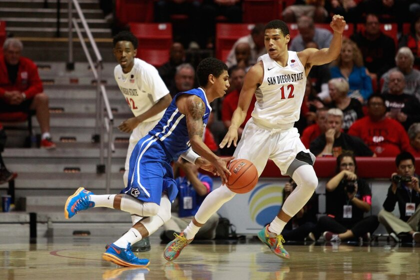 SDSU guard Trey Kell faces off against Cal State San Marcos offense Monday.