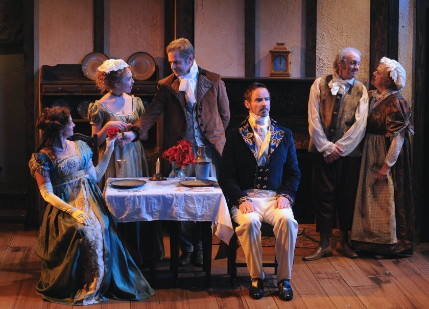 "Jacquelyn Ritz, Tatiana Mac, Robert Yacko, Randall Dodge, Ron Choularton and Annie Hinton (left to right) in North Coast Rep's ""Man With a Load of Mischief."""