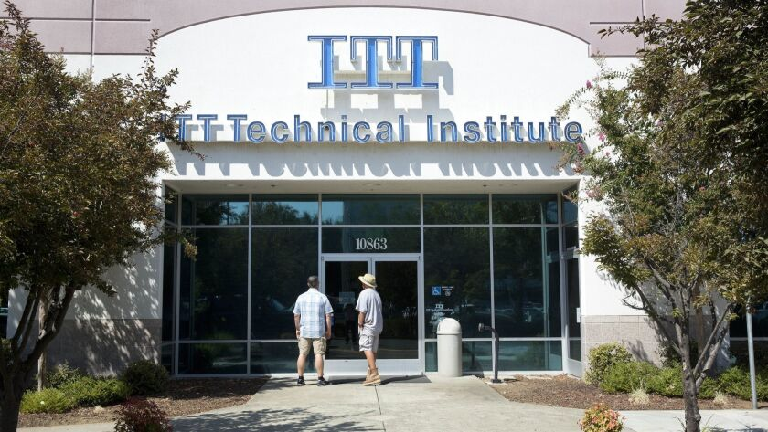 ITT Technical Institute campuses abruptly shut down in 2016 after the Education Department curtailed its parent company's access to federal loans and grants.