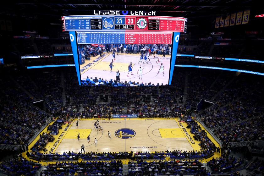 Chase Center during a game between the Golden State Warriors' season opener against he Clippers on Oct. 24.