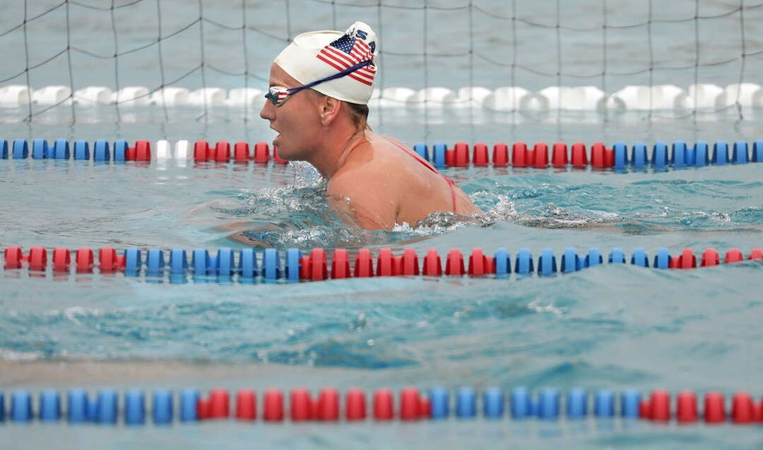 U.S. women's water polo team member Kaleigh Gilchrist practices at Joint Forces Training Base in Los Alamitos.