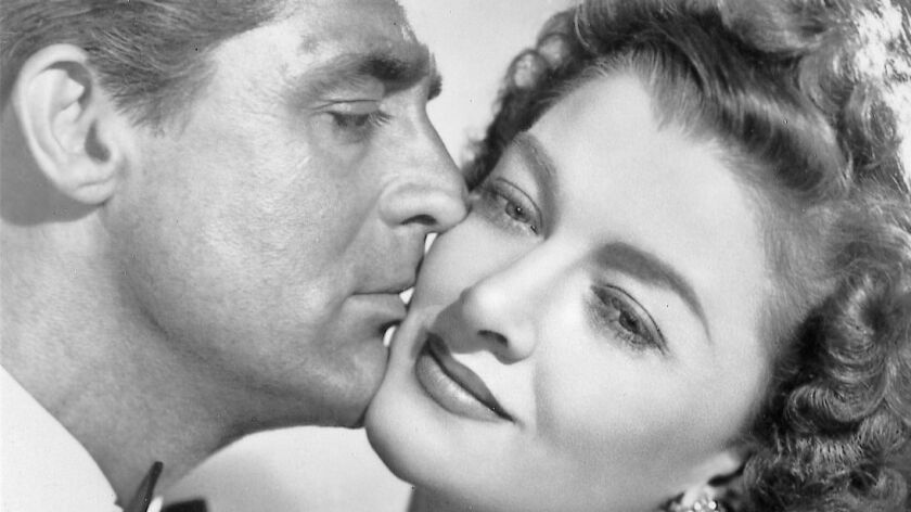 "Cary Grant and Myrna Loy in ""The Bachelor and the Bobby-Soxer."""