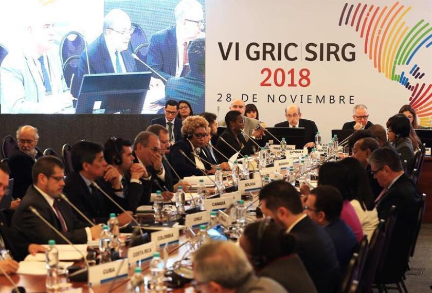 Peruvian Deputy Foreign Minister Hugo de Zela (c) presides at the start of the Summit Implementation Review Group (SIRG) meeting with other Western Hemisphere nations, designed to pursue an anti-corruption drive, in Lima on Nov. 28, 2018. EFE-EPA/Ernesto Arias