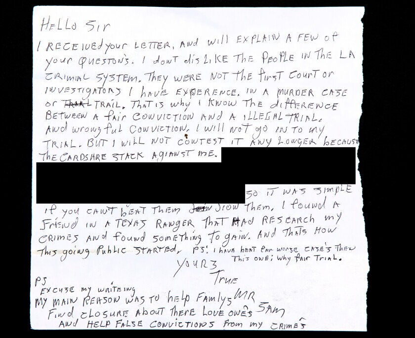 Letter from serial killer Sam Little