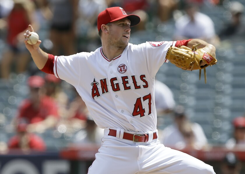 Angels starter Griffin Canning delivers a pitch during a win over the Chicago White Sox on Sunday.