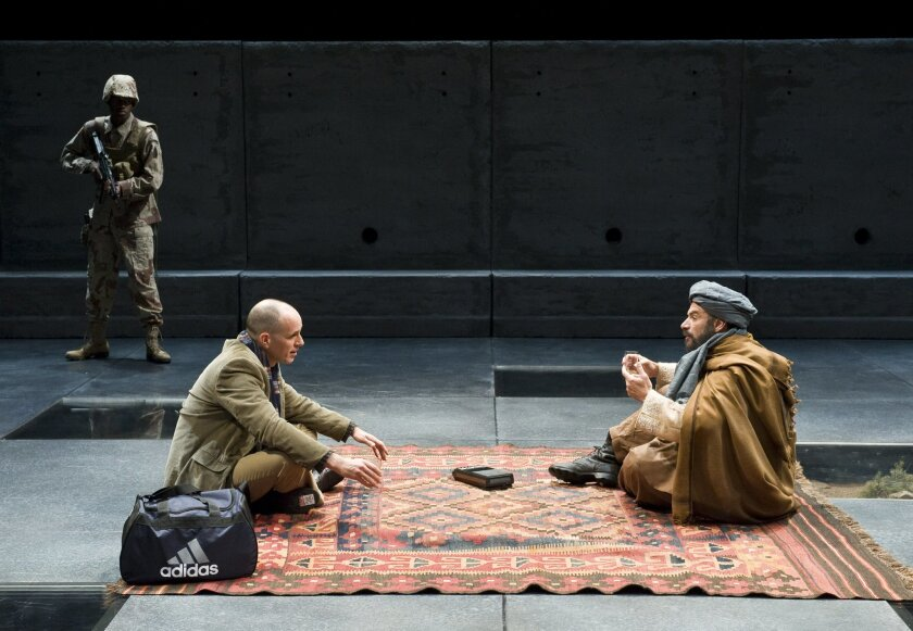 """Maurice Williams, Kelly AuCoin and Demosthenes Chrysan (left to right) in La Jolla Playhouse's """"Blood and Gifts."""""""