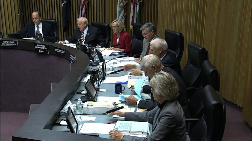 The San Diego County Board of Supervisors during a January vote. A proposed initiative would expand the number of supervisors fro five to seven in counties with more than 2 million people, in an attempt to improve represenation.